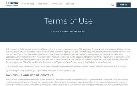 Screenshot of Terms Page drhorton.com - DRHorton - Terms of Use | D.R. Horton - captured Feb. 11, 2019