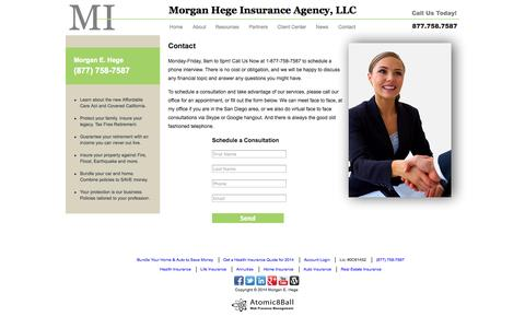 Screenshot of Contact Page morganhege.com - Morgan E. Hege - Life Annuity & Retirement Planning :: Contact - captured Oct. 7, 2014