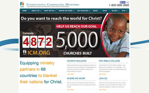 Screenshot of Home Page icm.org - Home - International Cooperating Ministries - captured Oct. 6, 2014