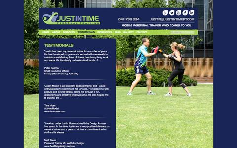 Screenshot of Testimonials Page justintimept.com - Testimonials | Just In Time Personal Training - captured Oct. 6, 2014