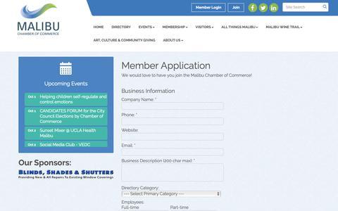 Screenshot of Signup Page malibu.org - Member - Malibu Chamber of Commerce, CA - captured Oct. 2, 2018