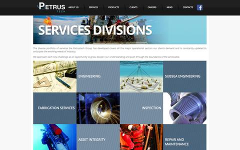 Screenshot of Services Page petrustech.com - PETRUSTECH - SERVICES DIVISIONS - captured Oct. 2, 2014
