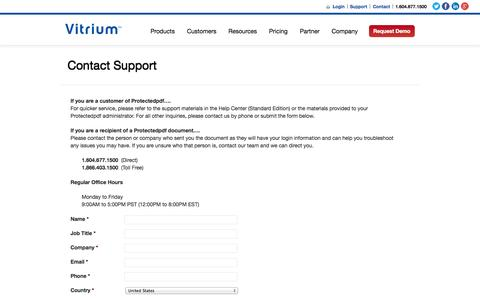 Screenshot of Support Page vitrium.com - Contact Support for Protectedpdf Document Security & DRM   Vitrium - captured Oct. 10, 2014