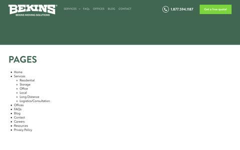 Screenshot of Site Map Page mybekins.com - Sitemap - MyBekins.com: Moving Services - captured Oct. 5, 2018