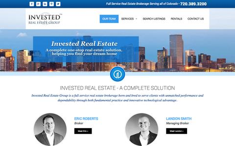 Screenshot of Team Page investedreg.com - Our Team | Invested Real Estate | Denver Colorado | Commercial Real Estate | Residential Real Estate - captured Oct. 8, 2014