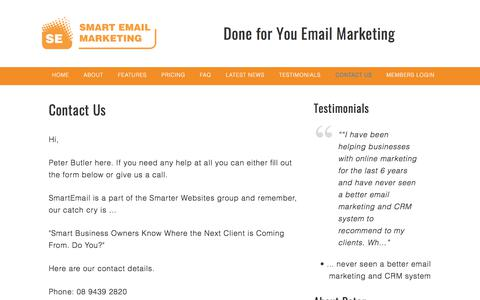 Screenshot of Contact Page smartemail.com.au - Contact Email Marketing Software, Email Newsletters and Autoresponders by Smart Email - captured Nov. 17, 2017