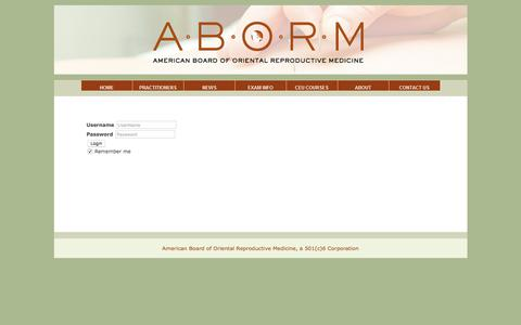 Screenshot of Login Page aborm.org - LOGIN - captured Feb. 16, 2018