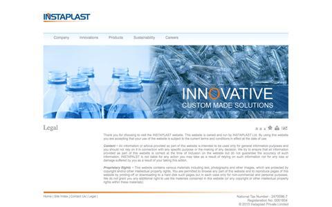 Screenshot of Terms Page instaplast.com - ::: INSTAPLAST ::: - captured Oct. 6, 2014