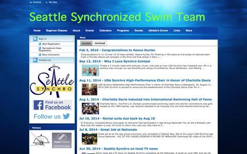 Screenshot of Press Page teamunify.com - Seattle Synchronized Swim Team : News - captured Dec. 1, 2016