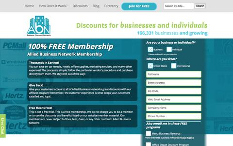 Screenshot of Signup Page abnsave.com - Join Allied Business Network | Allied Business Network - captured Sept. 25, 2014