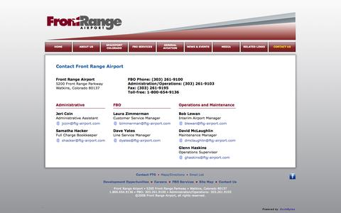 Screenshot of Contact Page ftg-airport.com - Front Range Airport - Contact FTG - captured Oct. 6, 2014