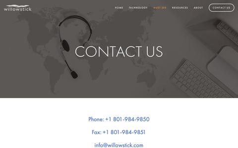 Screenshot of Contact Page willowstick.com - Contact Us — Willowstick - captured Oct. 18, 2018