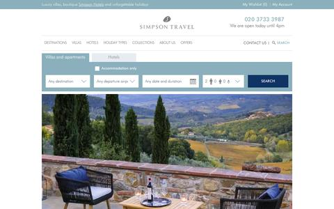 Screenshot of Home Page simpsontravel.com - Handpicked holidays in Greece, Corsica, France, Italy, Turkey & Mallorca | Simpson Travel - captured Jan. 11, 2020
