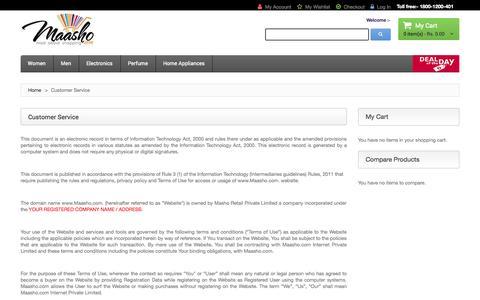 Screenshot of Support Page maasho.com - Customer Service - captured Sept. 24, 2014