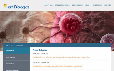 Screenshot of Press Page heatbio.com - Press Releases :: Heat Biologics, Inc. (HTBX) - captured Sept. 16, 2014