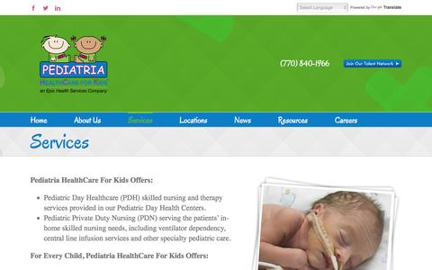 Screenshot of Services Page pediatriakids.com - Services | Pediatria - captured Oct. 28, 2016