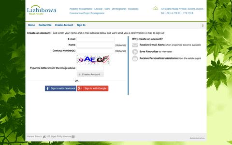 Screenshot of Signup Page lizhibowa.co.zw - Create an Account - captured Nov. 2, 2014
