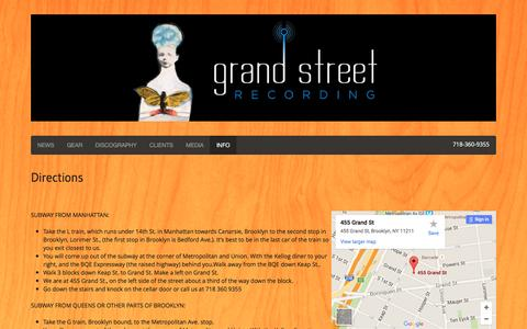 Screenshot of Maps & Directions Page grandstreetrecording.com - Directions � Grand Street Recording � Brooklyn, New York - captured Dec. 13, 2015