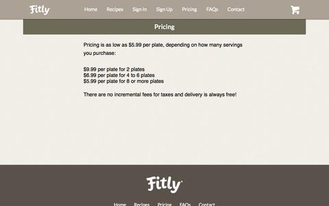 Screenshot of Pricing Page fitly.com - Fitly® - Delicious. Delivered.™ - captured Oct. 28, 2014