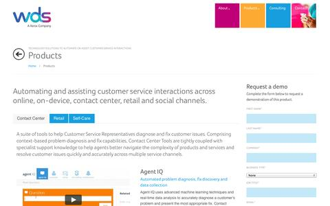 Screenshot of Products Page wds.co - WDS, Technology across Self-Care, Device, Contact Center & Social - captured Oct. 7, 2014