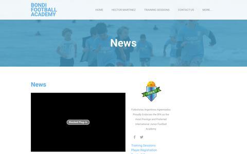 Screenshot of Press Page bondifootball.com - News - Bondi Football Academy - captured Jan. 23, 2016