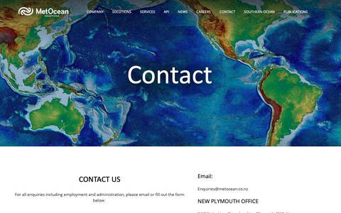 Screenshot of Contact Page metocean.co.nz - Contact — MetOcean Solutions - captured Oct. 17, 2018