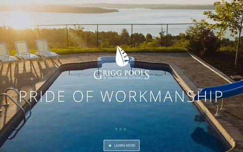 Screenshot of Home Page griggpools.com - Home - Grigg Pools and Outdoor Living - captured Sept. 16, 2015