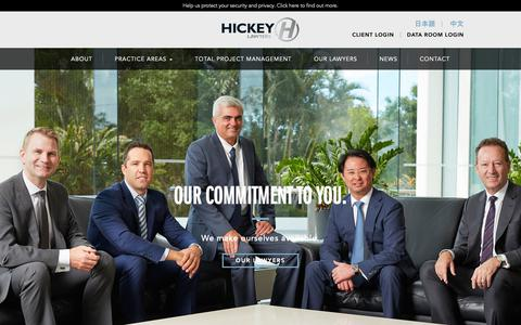 Screenshot of Home Page hickeylawyers.com.au - Hickey Lawyers, Gold Coast - providing a comprehensive range of legal services - captured Nov. 5, 2018