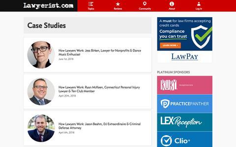 Screenshot of Case Studies Page lawyerist.com - Case Studies   Lawyerist.com - captured Oct. 5, 2019