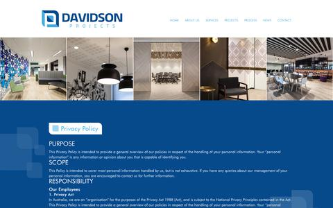 Screenshot of Privacy Page davidsonprojects.com.au - Privacy Policy - Davidson Projects - captured Oct. 7, 2018