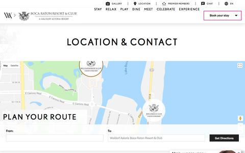 Screenshot of Contact Page Maps & Directions Page bocaresort.com - Location, Directions & Contact | Boca Raton Resort & Club - captured Sept. 22, 2018