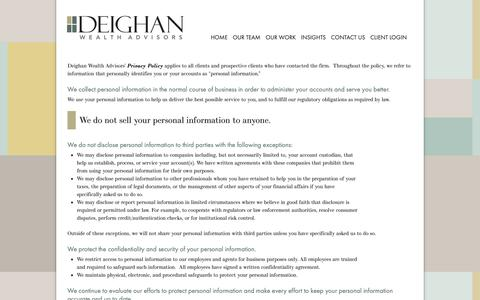 Screenshot of Privacy Page deighan.com - Privacy Policy | Deighan Wealth Advisors - captured Nov. 13, 2018