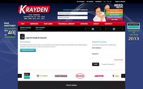 Screenshot of Login Page krayden.com - Customer Login - Krayden - captured Nov. 3, 2014