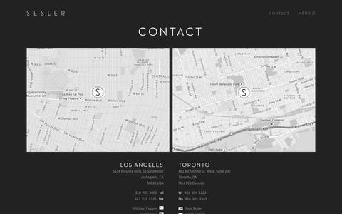 Screenshot of Contact Page sesler.com - SESLER » Contact - captured Sept. 30, 2014