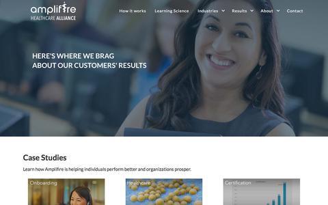 Screenshot of Case Studies Page amplifire.com - Amplifire Learning Platform |  Case Studies - captured Sept. 20, 2018