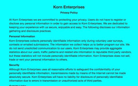 Screenshot of Privacy Page kornenterprises.com - Privacy Policy - Korn Enterprises - captured May 7, 2017