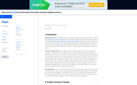 Screenshot of About Page Terms Page songza.com - Terms and Conditions -  Songza - captured June 16, 2015