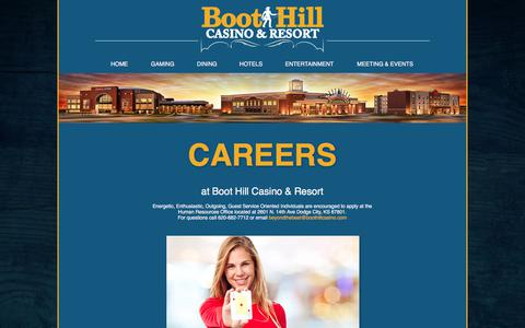 Screenshot of Jobs Page boothillcasino.com - Careers - captured Oct. 10, 2017