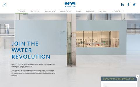 Screenshot of About Page aquaporin.dk - Company | Aquaporin - captured Oct. 4, 2018