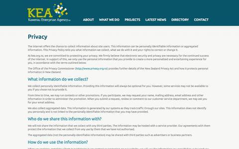 Screenshot of Privacy Page kea.org.nz - Privacy | KEA Kawerau Enterprise Agency - captured Oct. 6, 2014