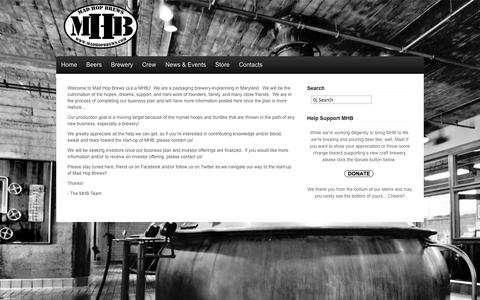 Screenshot of Home Page madhopbrews.com - Mad Hop Brews - We Rock Out With Our Knock Out - captured Oct. 4, 2014