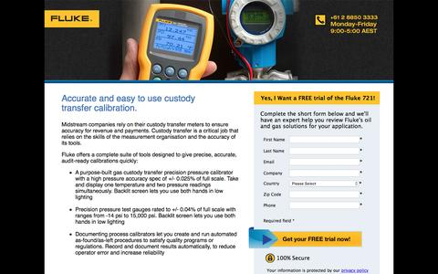 Screenshot of Landing Page fluke.com - Fluke 721 Pressure Calibrator – Try Free Today! - captured Aug. 14, 2016