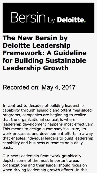 The New Bersin by Deloitte Leadership Framework: A Guideline for Building Sustainable Leadership Growth