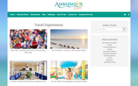 Screenshot of Products Page myambassadortravel.com - Travel Experiences - captured Oct. 3, 2018