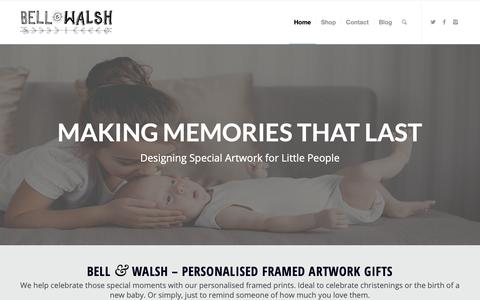 Screenshot of Home Page bellandwalsh.co.uk - Personalised Framed Prints for Christenings and New Borns - Bell & Walsh - captured Nov. 6, 2018