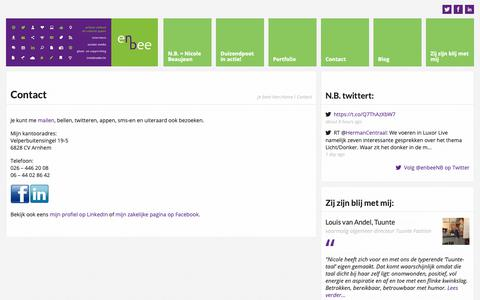 Screenshot of Contact Page enbee.nl - Contact | N.B. tekst & advies | Arnhem, Gelderland | tekst, communicatie en sociale media - captured Dec. 20, 2018