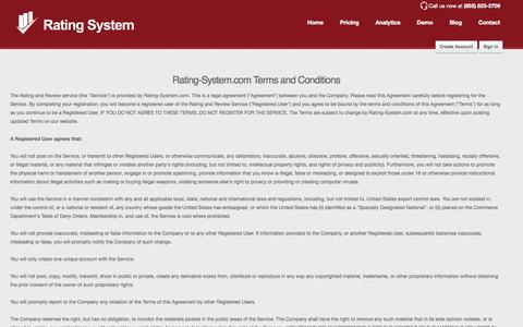 Screenshot of Terms Page rating-system.com - Rating System Terms and Conditions - captured Nov. 3, 2014