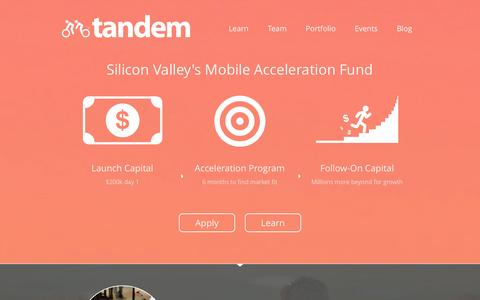 Screenshot of Home Page tandemcap.com - Tandem – Silicon Valley's Mobile Acceleration Fund - captured Sept. 19, 2014