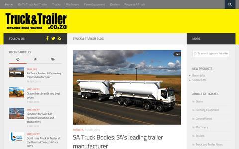 Screenshot of Blog truckandtrailer.co.za - Truck & Trailer Blog - Africa's premier website for Truck & Trailer classifieds - captured Sept. 19, 2015