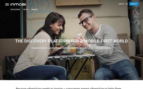 Screenshot of Home Page inmobi.com - InMobi | Mobile Discovery Commerce | Monetization | Advertising - captured Dec. 15, 2015